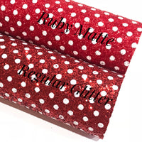 Red White Dot Chunky Glitter Fabric Sheet - Regular Glitter