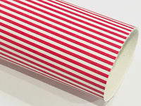 Red White Stripe Leatherette Sheet Stiffer 0.8mm Thickness