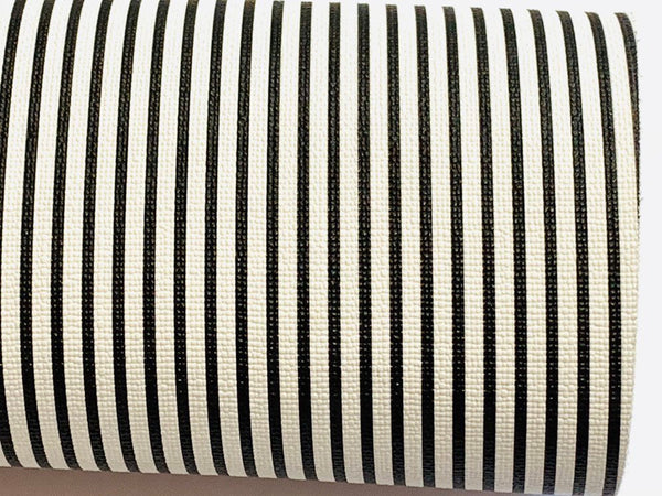 Black White Stripe Leatherette Sheet Stiffer 0.8mm Thickness A5 A4 Size Faux Leather Fabric
