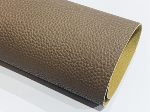 Milk Choc Brown Textured Leatherette Sheet A4 or A5 Size Thick 1.0mm Litchi Print Leatherette
