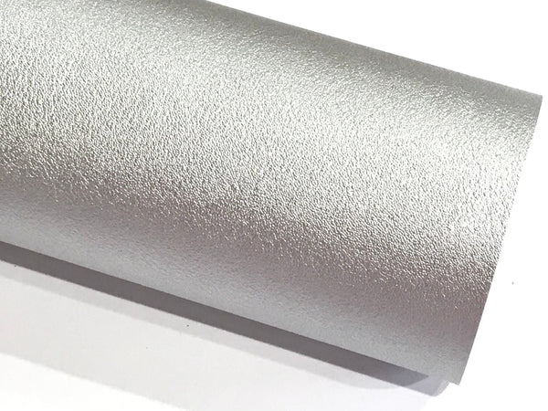 Smooth Silver Faux Leather 1.2mm fabric A4