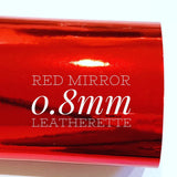 Red Mirrored Leatherette 0.8mm Thickness Mirror Red Glossy Leather A4