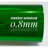 Green Mirrored Leatherette 0.8mm Thickness Mirror Christmas Green Glossy Leather A4