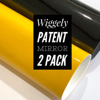 Wiggely Yellow and Black Patent Leather A4 Sheet Glossy Smooth PU Leatherette - 2 pack