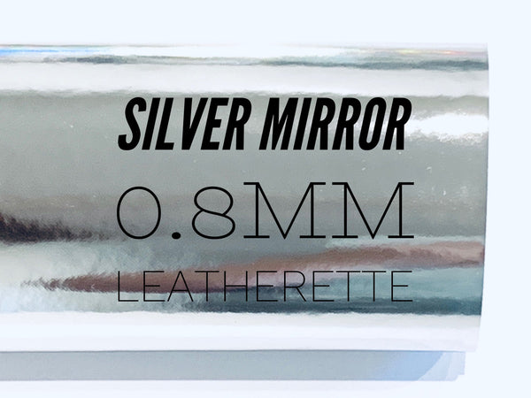 Silver Mirrored Patent Leatherette 0.8mm Thickness Silver Glossy Leather A4