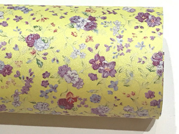 Yellow Floral Pearl Soft Leatherette Floral PU Leather A4 Sheet 210 x 297mm Floral Leather Bows Floral Leather Headbands