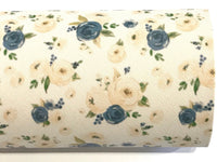 Cream Bloosom Floral PU Leather Fabric Sheets  A4