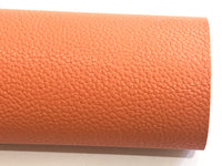 Papaya Pale Orange Faux Leather Fabric Pink PU Leather Thick 1.2mm Litchi Print Leatherette