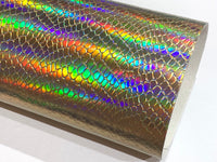 Gold Holographic Serpent Colour Changing Faux Snake Skin A4 Sheet 0.7mm thickness