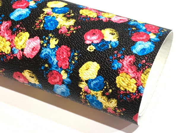 SALE Black Bright Floral Print Faux Leather Fabric