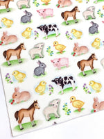 Easter at the Farm Cotton Merino Wool Felt backed Fabric Sheets