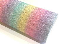 Pastel Rainbow Chunky Frosted Glitter PU Canvas