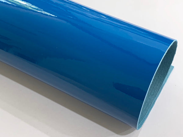 A3 Size Blue Patent Leather - Glossy Mirror Smooth PU Leatherette for Purses, Clutches and Handbags