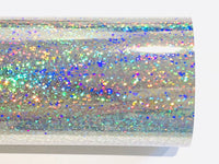 Silver Holigraphic Glitter Mirrored Leatherette 0.8mm Thickness Mirror Silver Glossy Leather