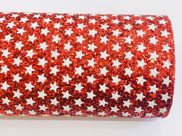Red and White Stars Chunky Glitter Fabric Sheet