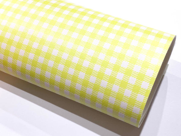 Smooth Yellow White Plaid Leatherette Sheet