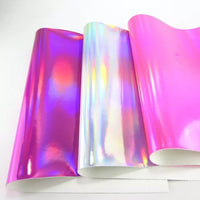 Holographic Silver Mirrored Leatherette 0.8mm Thickness Mirror Silver Glossy Leather