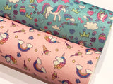 Unicorn Print Fine Glitter Fabric Sheet