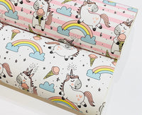 Pink and White Stripe Unicorn Faux Leather Fabric