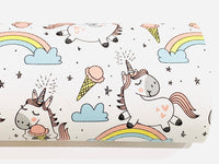White Unicorn Faux Leather Fabric