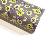 Grey Mustard Floral Print Faux Leather Fabric