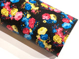 Black Bright Floral Print Faux Leather Fabric