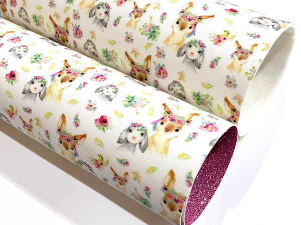 Floral Bunny Merino Wool Felt or Fine Glitter backed Fabric Sheets