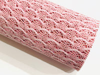 Dusty Pink Mermaid Fish Scale Glitter Lace Fabric Sheet A4 - Glitter Lace