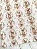 Floral Bunny PU Leather Fabric Sheets  A4