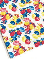 White Bright Floral Print Faux Leather Fabric