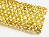 Golden Stars Chunky Glitter Fabric Sheet