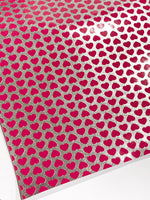 Metallic Silver Pink Hearts Faux Leather