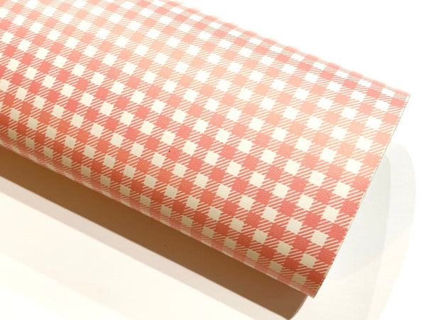 Smooth Bubblegum Pink White Plaid Leatherette Sheet
