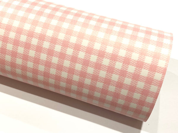 Smooth Baby Pink White Plaid Leatherette Sheet