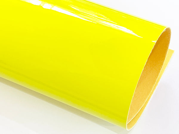 Brightest Yellow Patent Leather A4 Sheet Glossy Smooth PU Leatherette - 0.75mm