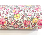 Pink Floral Fabric Merino Wool Felt Backed or Glitter back