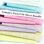 Summer Pastels Glitter and Leather 10 Sheet Fabric Bundle