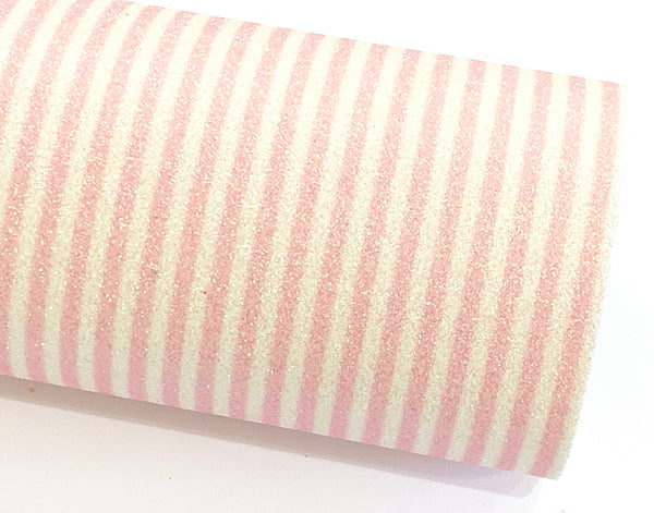 Pale Pink and White Stripe Glitter Fabric 0.9mm A4 Sheets