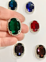Green Emerald Oval Rhinestone Flatback Embellishments 18 x 25mm