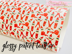 NEW Glossy Patent Leatherette Fabric Sheet Santas Little Helpers- Red Elf Patent