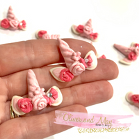 Pink Unicorn Ears and Horn Bow Clays