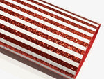 Red and White Stripe Fine Glitter Stripes Fabric Sheet - Straight Stripes - Matching back