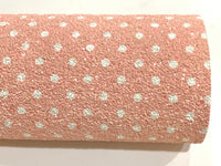 Peachy Pink White Dots Chunky Glitter Canvas