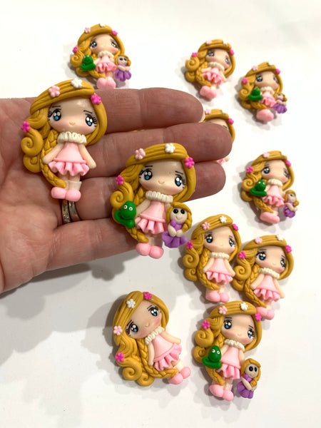 Rapunzel Girl with Plush Toy Embellishments Pascal and Rapunzel