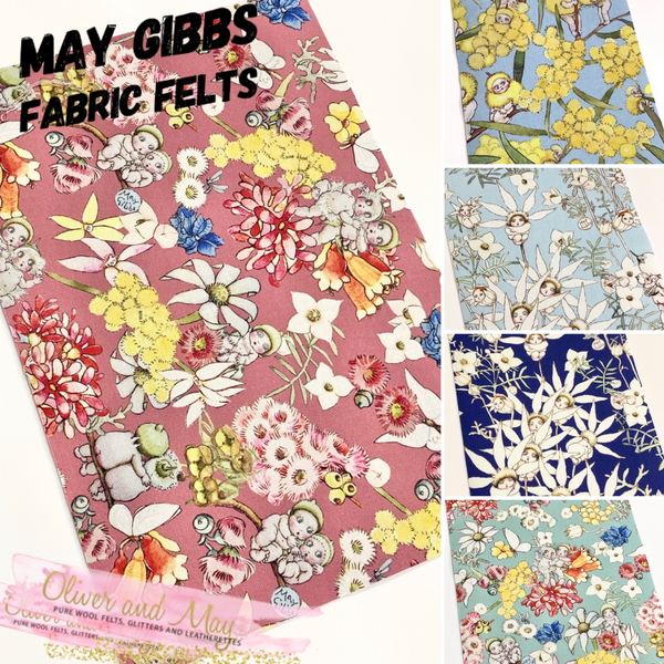 May Gibbs Snugglepot and Cuddlepie Fabric Felt - Merino Pure Wool Felt