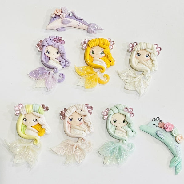 Mermaid Princesses Bow Clay Embellishments