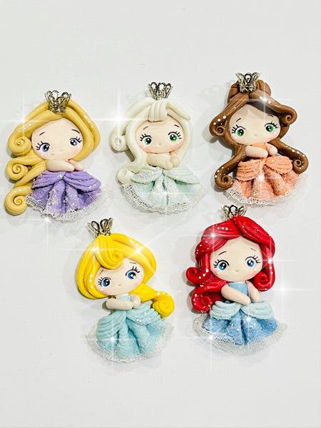 Enchanted Princesses Bow Clay Embellishments - Elsa, Cinderella, Belle, Rapunzel and Ariel.