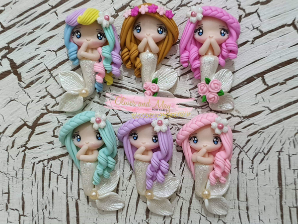 Mermaid Bow Clay Embellishment - Choice of 6 - In Stock now