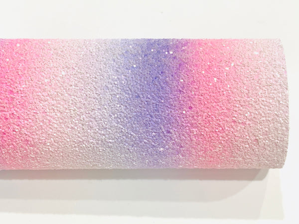 Pink and Purple Rainbow Chunky Glitter Canvas Fabric