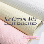 Ice Cream Mix Cross Embossed Faux Leatherette -3 x A4 sheet Pack